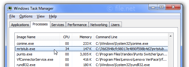 Windows Task Manager with mrtstub