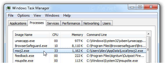 Windows Task Manager with mscj2
