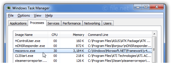 Windows Task Manager with mscorsvw