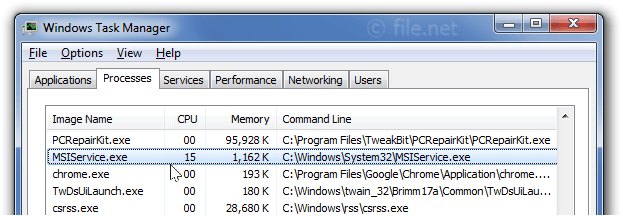Windows Task Manager with MSIService