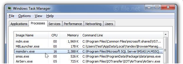 Windows Task Manager with msmdsrv