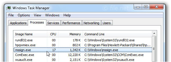 Windows Task Manager with mssign