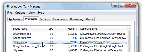 Windows Task Manager with mssrs32