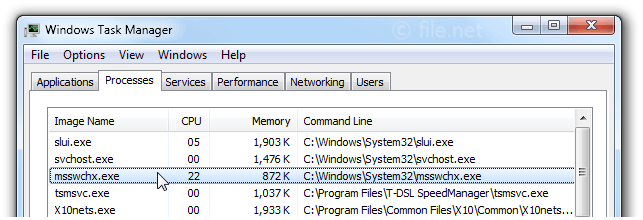Windows Task Manager with msswchx