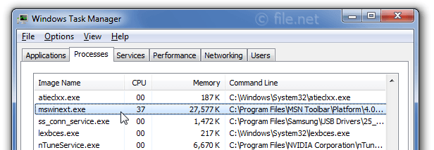 Windows Task Manager with mswinext