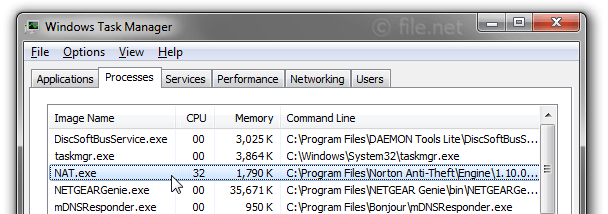 Windows Task Manager with NAT