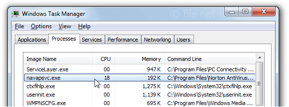 Windows Task Manager with navapsvc
