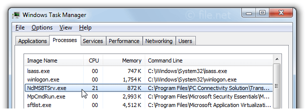 Windows Task Manager with NclMSBTSrv
