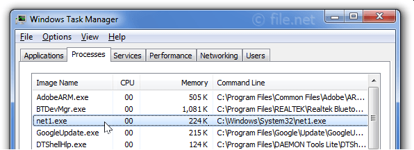 Windows Task Manager with net1