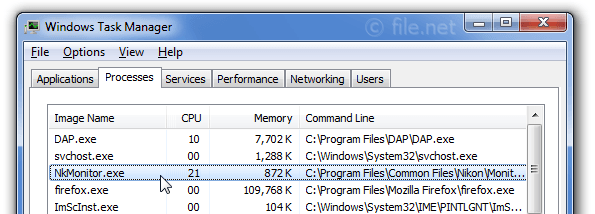 Windows Task Manager with NkMonitor