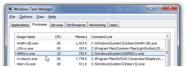 Windows Task Manager with NMSSvc