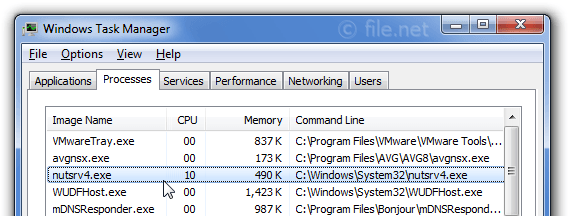 Windows Task Manager with nutsrv4