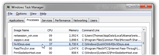 Windows Task Manager with NvXDsys