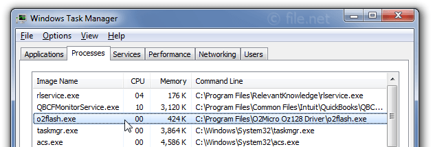 Windows Task Manager with o2flash