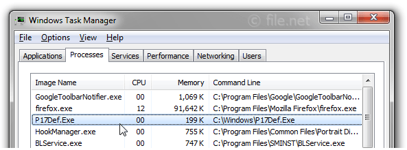 Windows Task Manager with P17Def