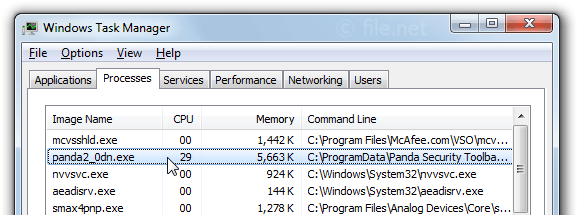 Windows Task Manager with panda2_0dn