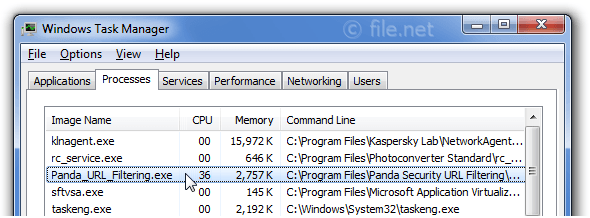 Windows Task Manager with Panda_URL_Filtering