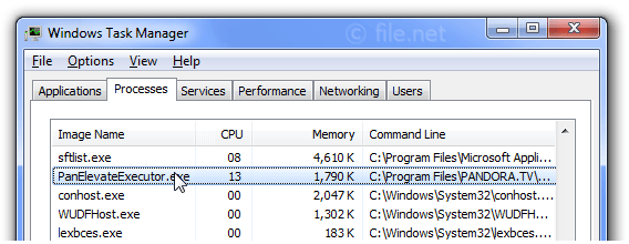 Windows Task Manager with PanElevateExecutor