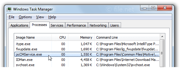 Windows Task Manager with pcCMService