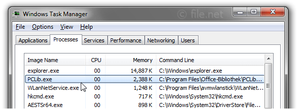Windows Task Manager with PCLib