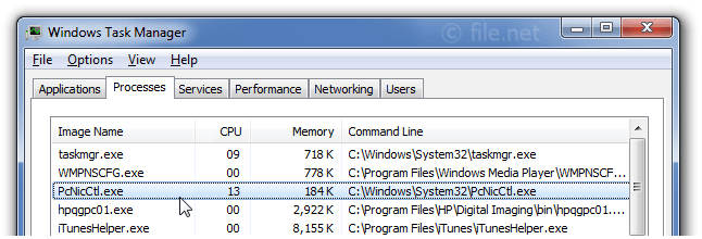 Windows Task Manager with PcNicCtl