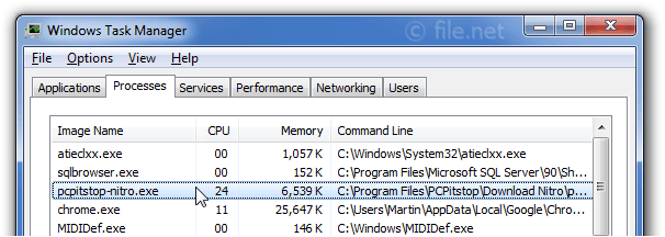 Windows Task Manager with pcpitstop-nitro