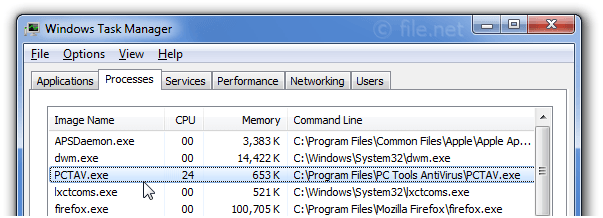 Windows Task Manager with PCTAV