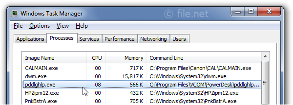 Windows Task Manager with pddlghlp