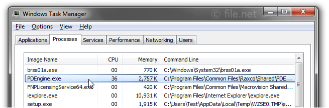 Windows Task Manager with PDEngine