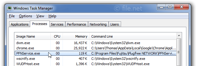 Windows Task Manager with PFNService