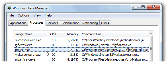 Windows Task Manager with pg_ctl