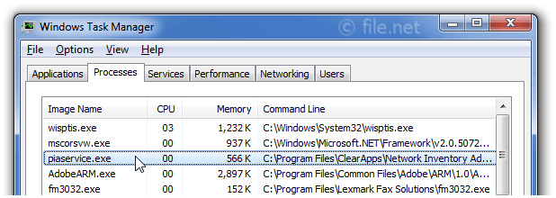 Windows Task Manager with piaservice