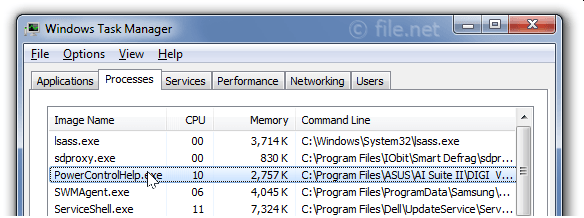 Windows Task Manager with PowerControlHelp