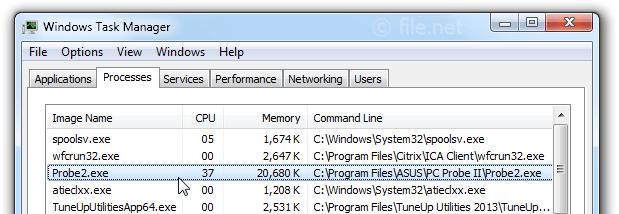 Windows Task Manager with Probe2