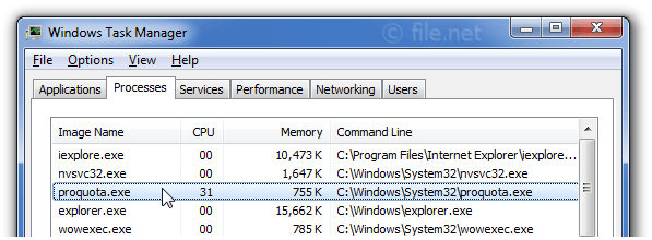 Windows Task Manager with proquota