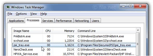 Windows Task Manager with psi_tray