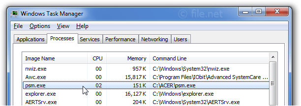Windows Task Manager with psm