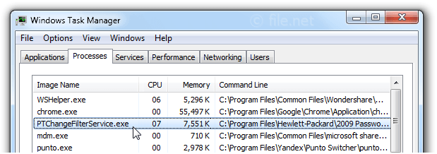 Windows Task Manager with PTChangeFilterService