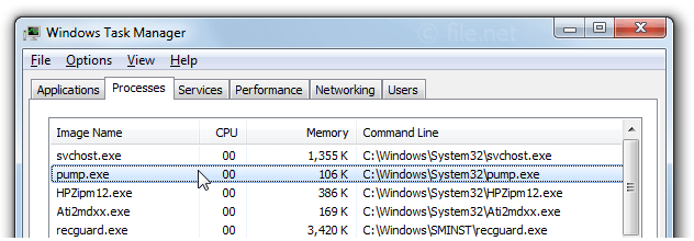 Windows Task Manager with pump