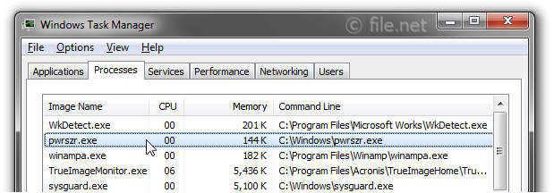 Windows Task Manager with pwrszr