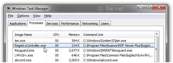 Windows Task Manager with RegistryController