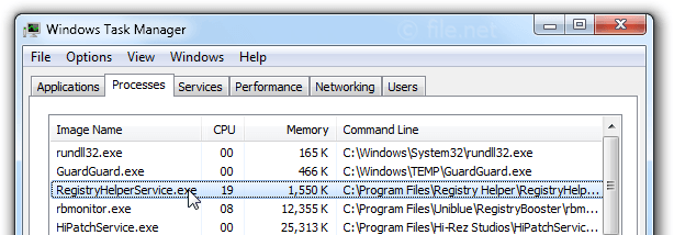 Windows Task Manager with RegistryHelperService