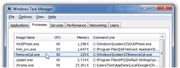 Windows Task Manager with RemoveCpl