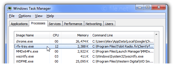 Windows Task Manager with rfx-tray
