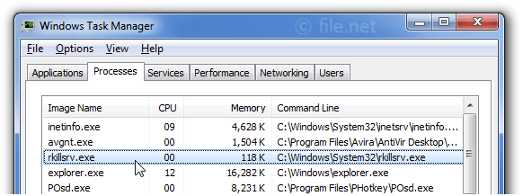 Windows Task Manager with rkillsrv