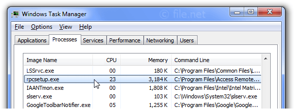 Windows Task Manager with rpcsetup