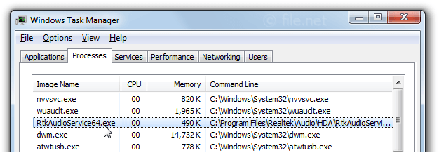 Windows Task Manager with RtkAudioService64