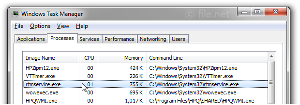 Windows Task Manager with rtmservice