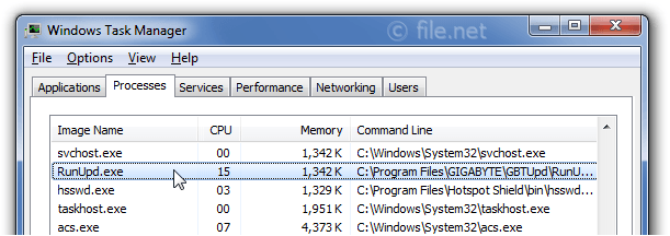 Windows Task Manager with RunUpd
