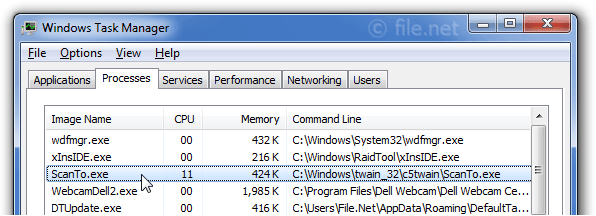 Windows Task Manager with ScanTo